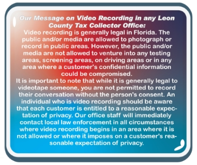 Message on video recording in the offices